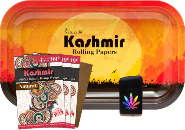 Kashmir Rolling Tray, Hemp Wrap and Torch Bundle